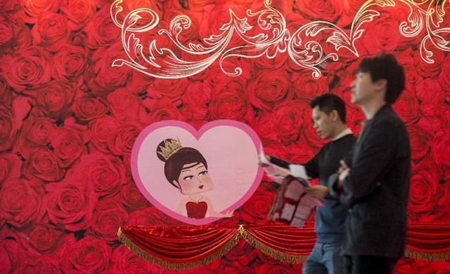 Trung Quốc cũng rộn ràng đón Valentine (ảnh: Xinhua)