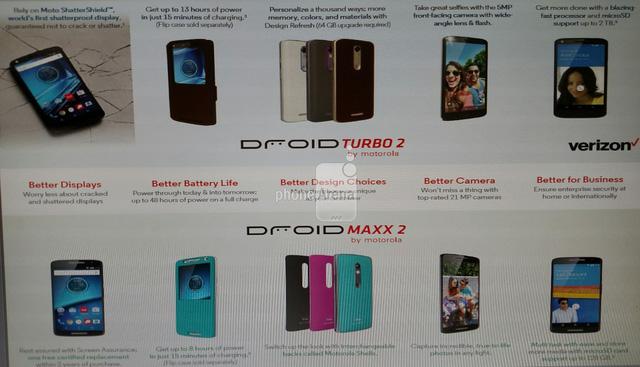 Hình ảnh Droid Turbo 2 và Droid Maxx 2 được đăng tải trên trang chủ Verizon (Ảnh: Phone Arena)