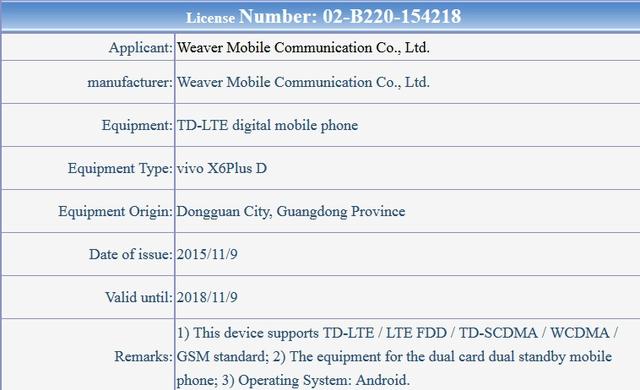 Thông tin về biến thể Vivo X6 Plus D được TENAA xác nhận
