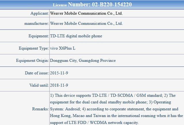 Thông tin về biến thể Vivo X6 Plus L được TENAA xác nhận