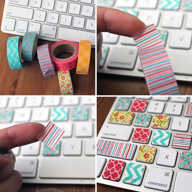 Bàn phím laptop của bạn sẽ lạ mắt hơn rất nhiều với những mẩu băng dính dễ thương.