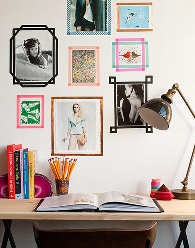 Băng dính màu còn có thể được sáng tạo thành những khung tranh, ảnh đầy màu sắc.