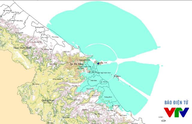 Vùng phủ sóng truyền hình số mặt đất khu vực Đà Nẵng và khu vực thu cố định ngoài trời (vùng màu xanh dương) của Đài Truyền hình Việt Nam