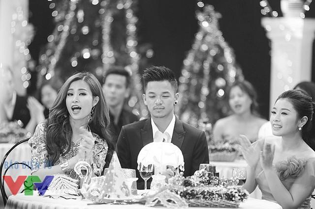 Đông Nhi, Trọng Hiếu và Thu Hằng tại chương trình Gặp gỡ VTV 2015 phát sóng tối qua, 31/12/2015.