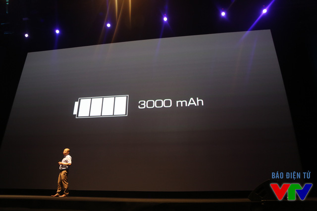 Dung lượng pin của máy lên tới 3.000 mAh