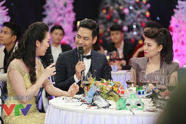 Á hậu Thụy Vân, MC Phan Anh và BTV Ngọc Trinh tại chương trình Gặp gỡ VTV.