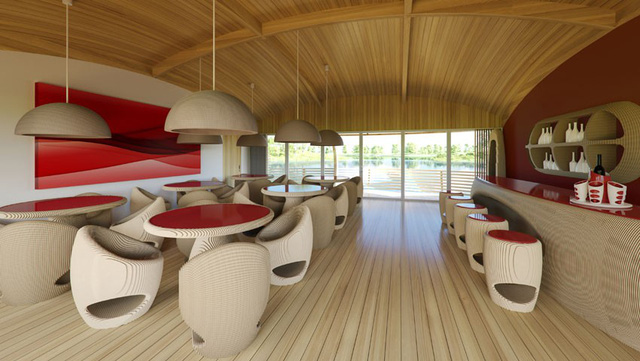 Nội thất trong nhà được thiết kế bằng gỗ tái chế