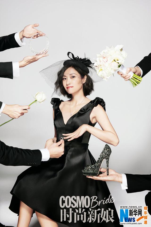 Cô dâu Từ Tịnh Lôi với khuôn hình và trang phục ấn tượng.