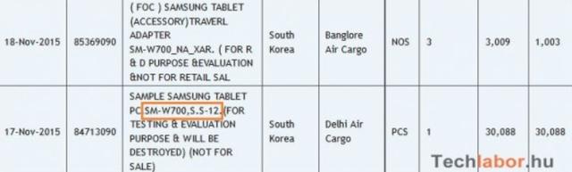 Thông tin về chiếc máy tính bảng 12 inch của Samsung được xác nhận trên trang Zauba