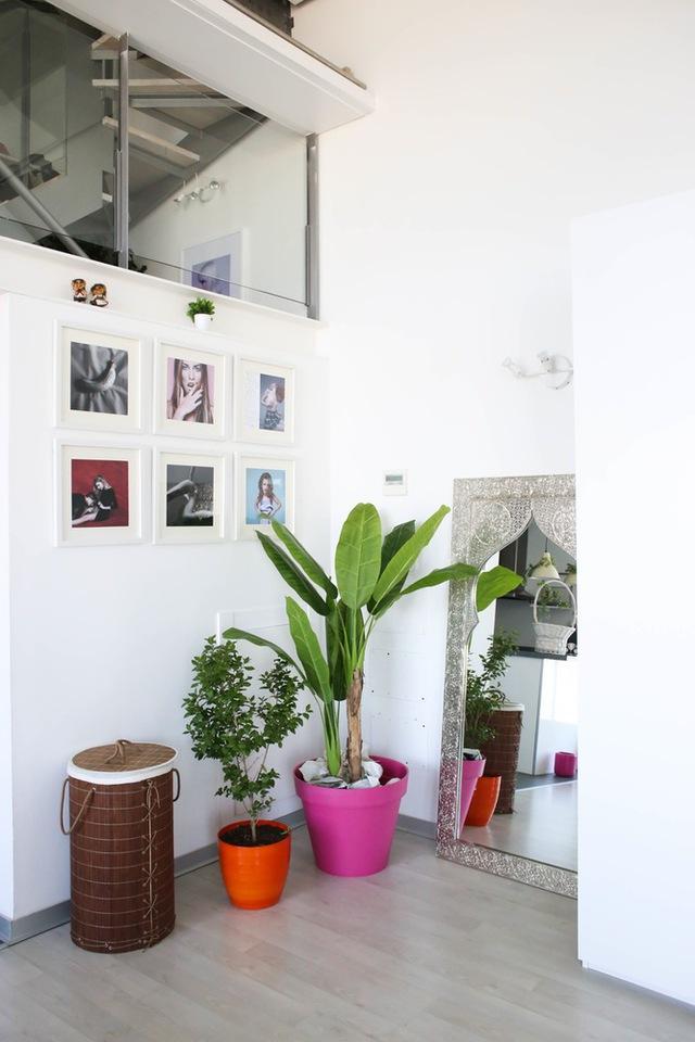 Những góc trống trong căn nhà luôn được tận dụng để tạo thêm không gian xanh.