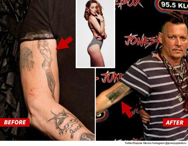 Sau khi Amber trình đơn ly hôn lên tòa án, Johnny Depp đã xóa một vài hình xăm liên quan đến cô trên cơ thể mình. (Ảnh: TMZ)