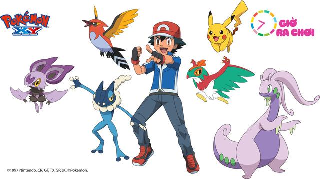 Nhân vật chính Satoshi cùng bạn đồng hành là Pikachu và các Pokémon cộng sự trong Pokémon XY series 18