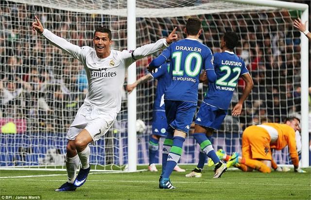 Ronaldo đã có trận đấu xuất sắc trước Wolfsburg để đưa Real Madrid giành vé vào bán kết. Ảnh: BPI