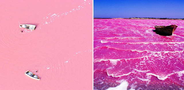 Hồ Retba, Senegal - hồ nước màu sắc nhất thế giới được tạo ra do một loại vi khuẩn có lợi phát triển mạnh ở vùng nước mặn này.