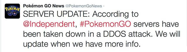 Một tài khoản Twitter cho biết Pokémon GO bị tấn công DDoS