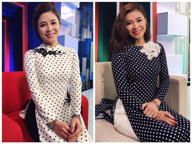 Hoàng Linh với hai trang phục áo dài cách tân trong chương trình Café sáng với VTV3.