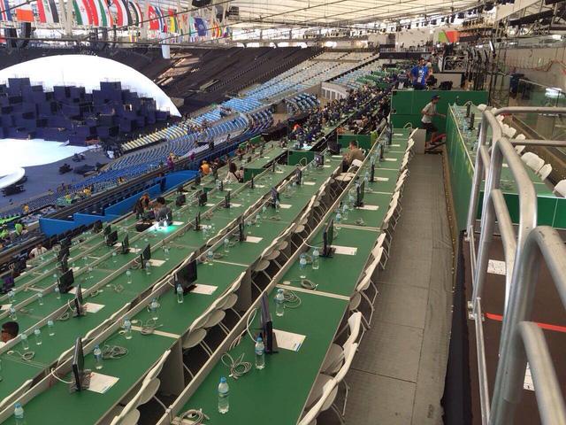 Khu vực dành cho báo chí trên sân Maracana trong buổi lễ khai mạc.