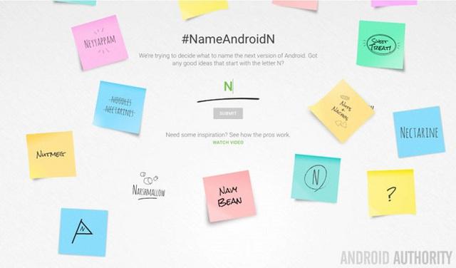 Google cho phép người dùng đặt tên cho Android N trên trang chủ của Android