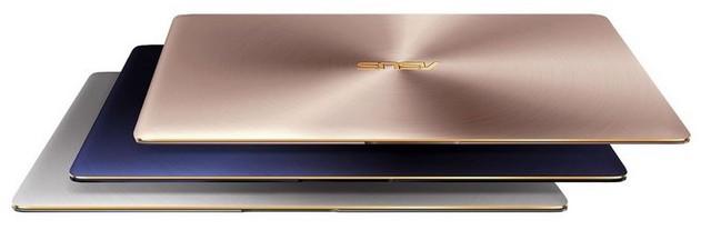 ZenBook 3 có ba lựa chọn màu sắc: Xanh Hoàng Gia, Vàng Hồng và Xám Thạch Anh.