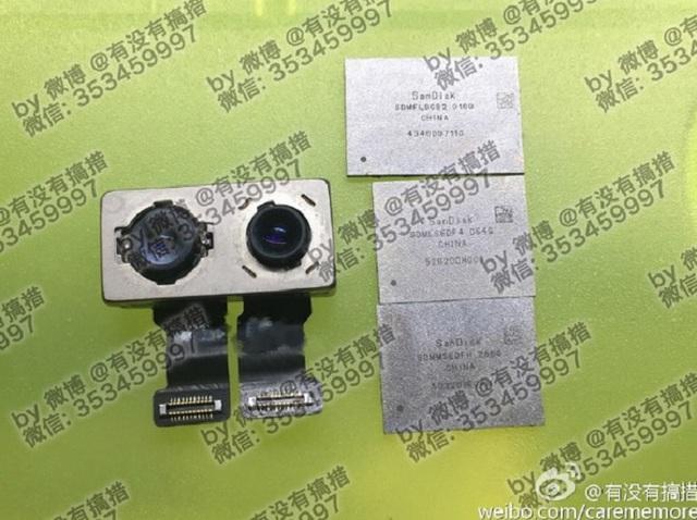Hình ảnh module camera kép và chip bộ nhớ của iPhone 7 Plus do Rock Fix đăng tải