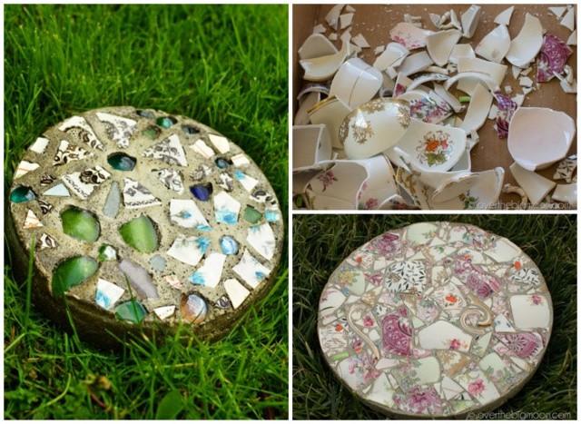 Những phiến đá đẹp được làm từ những mảnh gốm, đá quý hoặc kính