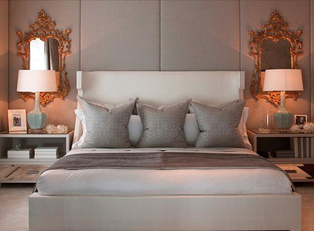 Giường ngủ đơn sắc giản dị mà sang trọng.