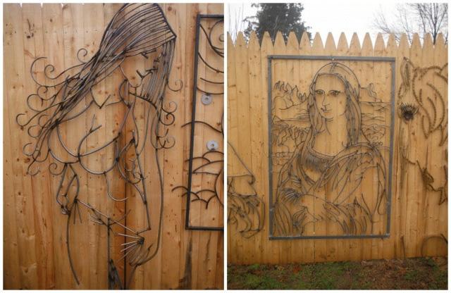 Những tác phẩm nghệ thuật bằng kim loại được gắn trên hàng rào