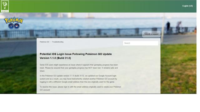 Thông báo về cách khắc phục sự cố đăng nhập Pokémon GO của Niantic