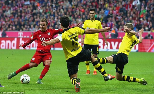 Bayern (áo đỏ) đang hơn Dortmund 5 điểm trong cuộc đua tại giải VĐQG
