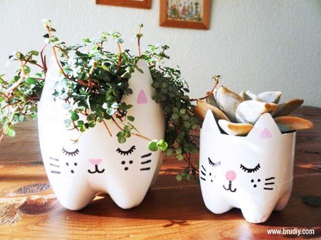Một chai nhựa cũ là một ý tưởng tuyệt vời để làm một lọ hoa nhỏ và dễ thương.