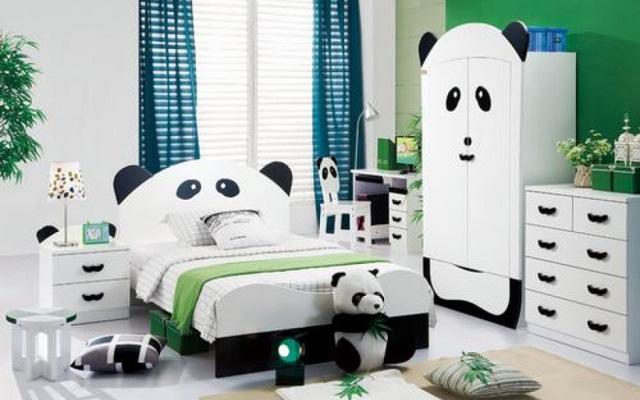 Các bé yêu thích bộ phim Kungfu Panda hẳn sẽ rất bất ngờ với phòng ngủ phong cách gấu trúc như thế này.