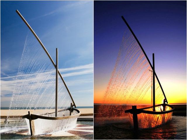 Đài phun nước Water Boat mang dáng dấp của một con thuyền ở Tây Ban Nha.