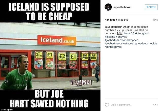 Cửa hàng Iceland thường bán đồ giá rẻ nhưng thủ thành Joe Hart cũng không tiết kiệm được gì cả (save vừa có nghĩa là cứu thua, vừa có nghĩa là tiết kiệm)