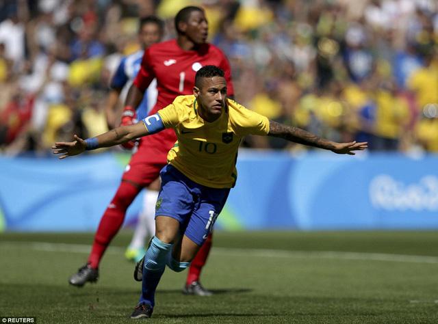 Neymar đã có bàn thắng nhanh nhất trong lịch sử các kỳ Olympic của môn bóng đá nam. Ảnh: Reuters