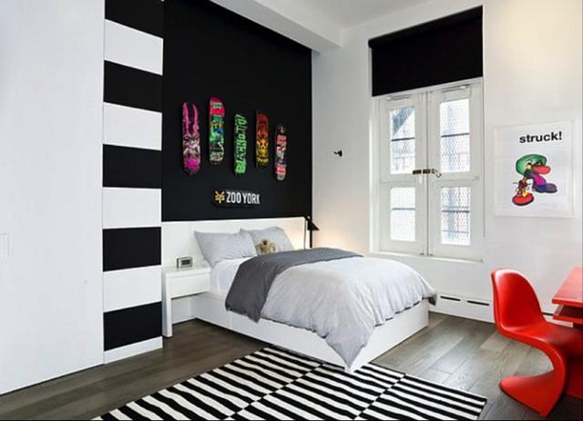 Phòng ngủ đơn giản nhưng cực chất dành cho các bé trai.