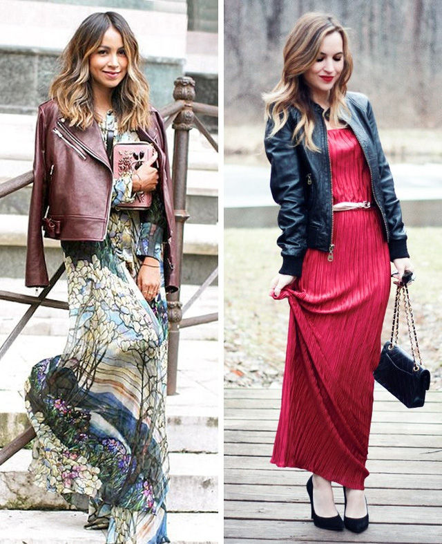 Giống như áo khoác denim, áo khoác da cũng làm tăng độ chất cho chiếc váy maxi.