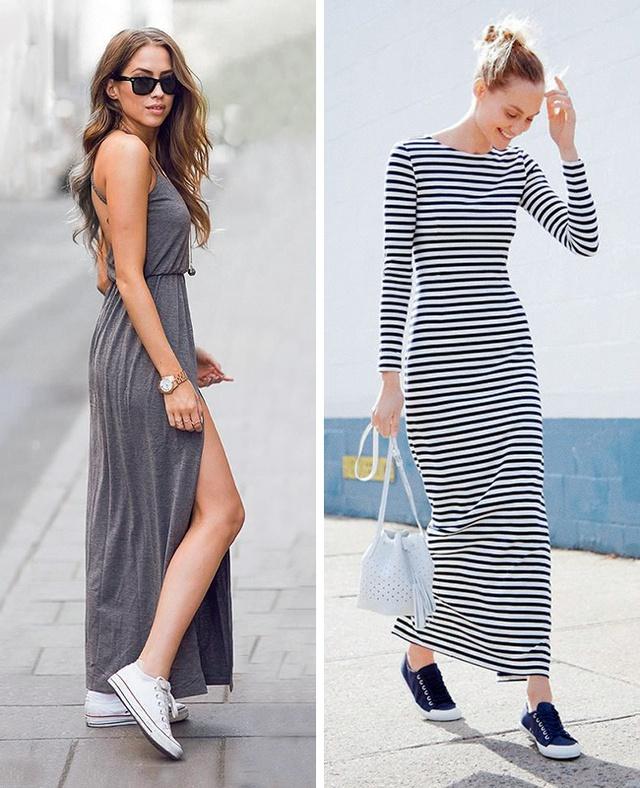 Diện váy maxi với giày thể thao tạo nên vẻ cá tính lạ lùng.