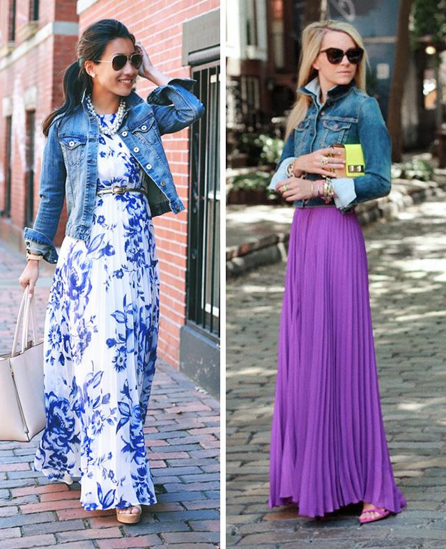 Chiếc áo khoác denim sẽ giúp chiếc váy maxi nhẹ nhàng, quyến rũ trở nên thời thượng hơn rất nhiều.