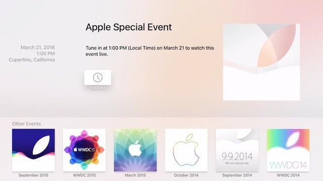 Giao diện kênh sự kiện của Apple trên Apple TV