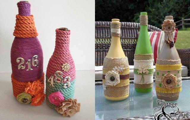 Bằng cách tái chế chai thủy tinh hoặc chai nhựa, bạn có thể làm những bình hoa tuyệt đẹp cho ngôi nhà của mình.