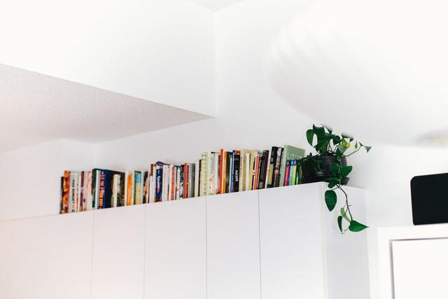Chủ nhân cũng tận dụng nhiều góc khác trong nhà để làm nơi cất giữ sách.D