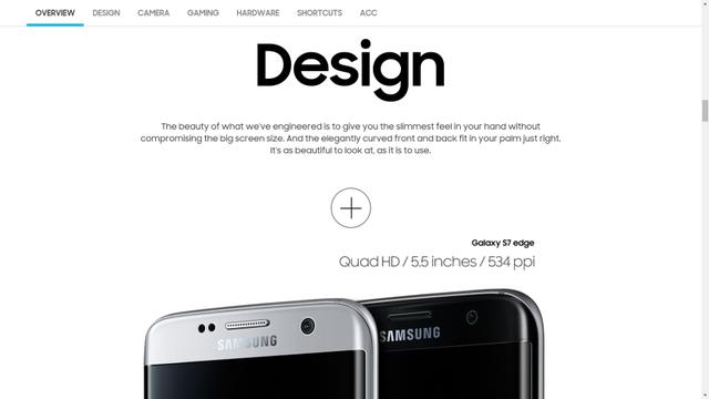 Hình ảnh Galaxy S7 và Galaxy S7 Edge trên trang chủ của Samsung tại Malaysia