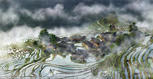 Nhiếp ảnh gia Thierry Bornier chờ đợi một tuần để có được những điều kiện thích hợp khi chụp ruộng bậc thang của một ngôi làng ở Quý Châu, Trung Quốc ẩn hiện trong màn sương mù vào sáng sớm.