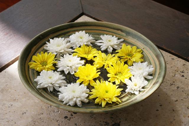 Hoa có thể sống lâu hơn khi đặt trong một chậu nước như thế này.