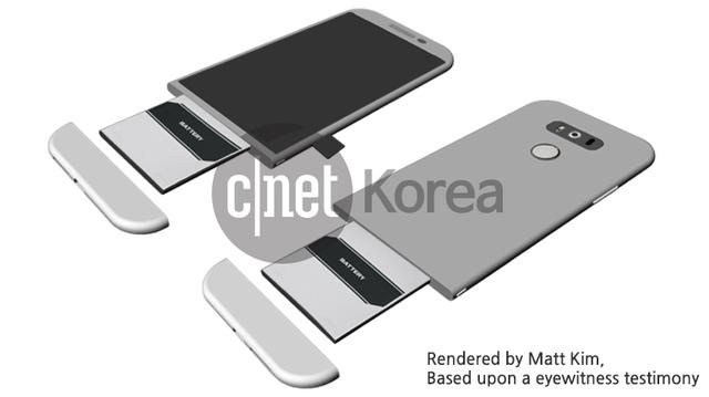 Concept mô tả cơ cấu tháo rời pin trên LG G5