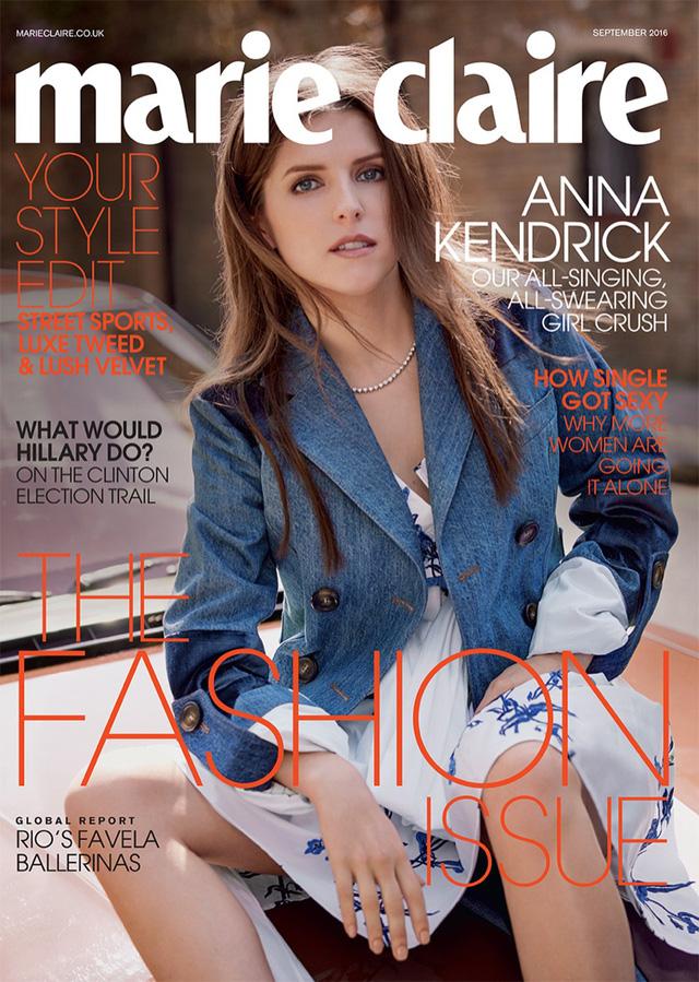 Anna Kendrick trở thành gương mặt trang bìa của tạp chí Marie Claire UK số tháng 9/2016.