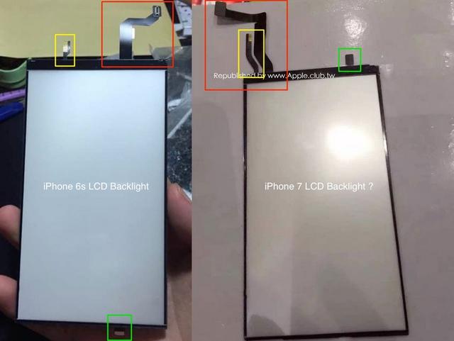 So sánh mặt trước tấm nền màn hình iPhone 6S (trái) và iPhone 7 (phải)