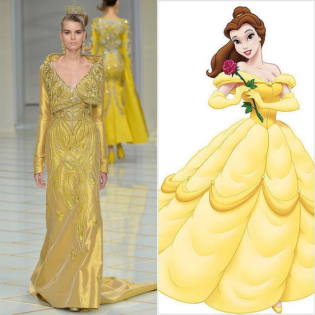 Thiết kế mới lộng lẫy của Guo Pei khiến người xem nhớ đến công chúa Belle trong Người đẹp và quái thú.