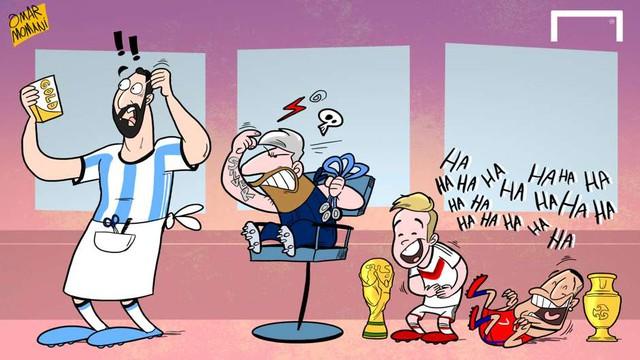 Siêu sao Lionel Messi vừa trình làng mái đầu bạch kim. Nhiều người cho rằng đây là cách để Messi tự nhắc bản thân mình rằng anh có duyên với màu... bạc (Á quân, Huy chương bạc) hơn là màu vàng.