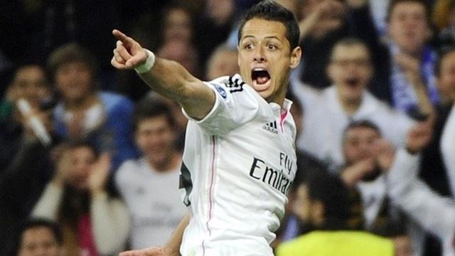 Chicharito ghi bàn duy nhất giúp Real Madrid đánh bại Atletico ở tứ kết năm ngoái.